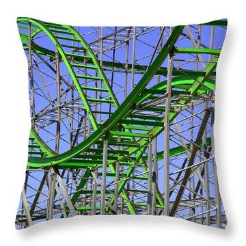 County Fair Thrill Ride Throw Pillow by Joe Kozlowski
