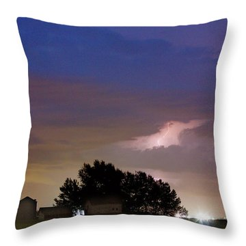 County Line 1 Northern Colorado Lightning Storm Throw Pillow by James BO  Insogna
