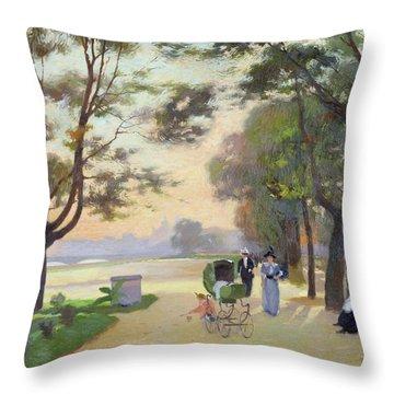 Cours La Reine Paris Throw Pillow by Jules Ernest Renoux