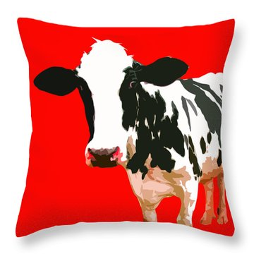 Cow In Red World Throw Pillow by Peter Oconor