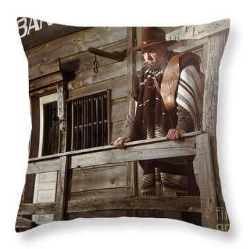Cowboy Waiting Outside Of A Bank Building Throw Pillow by Oleksiy Maksymenko