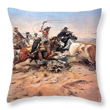 Cowboys Roping A Steer Throw Pillow by Charles Marion Russell