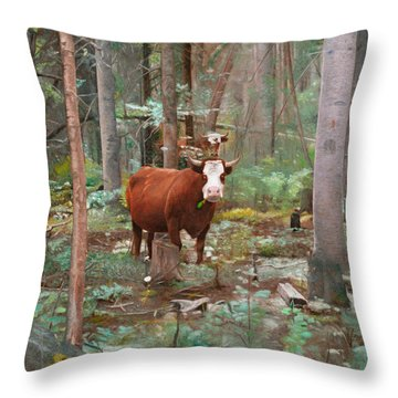 Cows In The Woods Throw Pillow by Joshua Martin