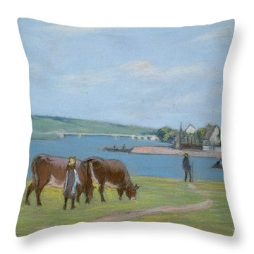 Cows On The Banks Of The Seine At Saint Mammes Throw Pillow by Alfred Sisley
