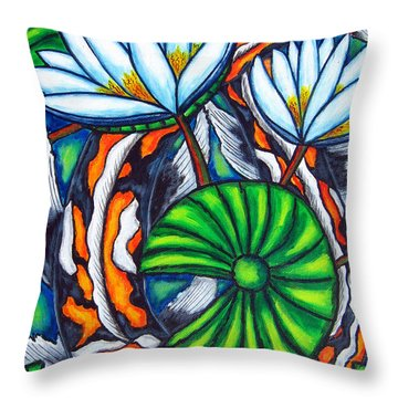 Coy Carp Throw Pillow by Lisa  Lorenz