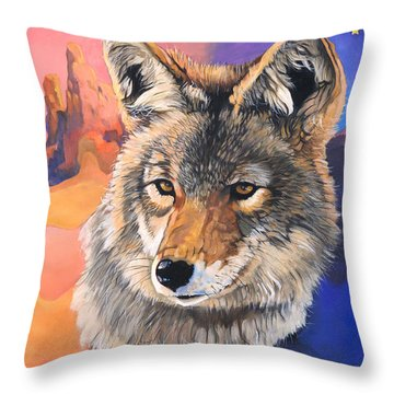 Coyote The Trickster Throw Pillow by J W Baker