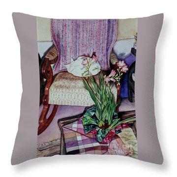 Cozy Kitty Throw Pillow by Cynthia Pride