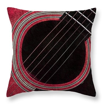 Cranberry Guitar Throw Pillow by Andee Design