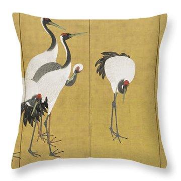 Cranes Throw Pillow by Maruyama Okyo