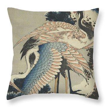 Cranes On Pine Throw Pillow by Hokusai