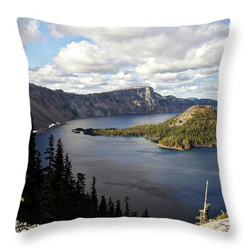 Crater Lake - Intense Blue Waters And Spectacular Views Throw Pillow by Christine Till