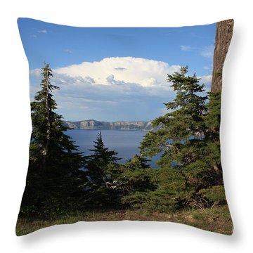 Crater Lake 8 Throw Pillow by Carol Groenen