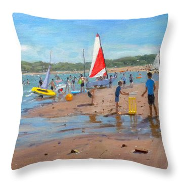 Cricket And Red And White Sail Throw Pillow by Andrew Macara