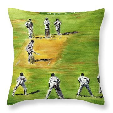 Cricket Duel Throw Pillow by Richard Jules