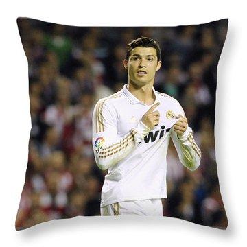 Cristiano Ronaldo 4 Throw Pillow by Rafa Rivas