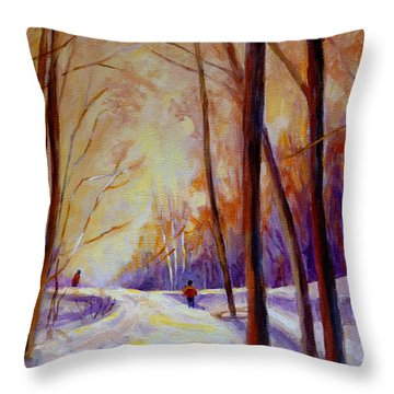 Cross Country Sking St. Agathe Quebec Throw Pillow by Carole Spandau