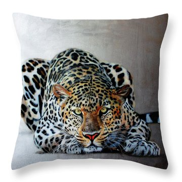 Crouching Leopard Throw Pillow by Susana Falconi