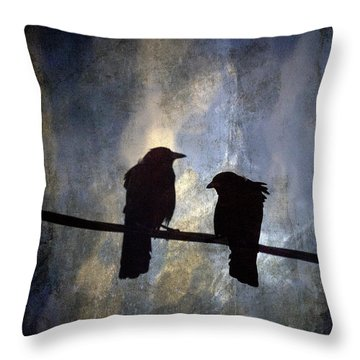 Crows And Sky Throw Pillow by Carol Leigh