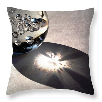 Crystal Ball With Trapped Air Bubbles Throw Pillow by Sumit Mehndiratta