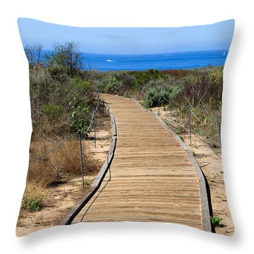 Crystal Cove State Park Wooden Walkway Throw Pillow by Paul Velgos