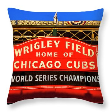 Cubs Win World Series Throw Pillow by Andrew Soundarajan