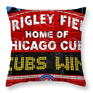 Cubs Win Wrigley Field Chicago Illinois Recycled Vintage License Plate Baseball Team Art Throw Pillow by Design Turnpike