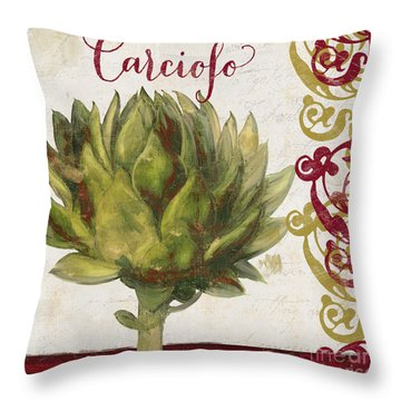 Cucina Italiana Artichoke Throw Pillow by Mindy Sommers