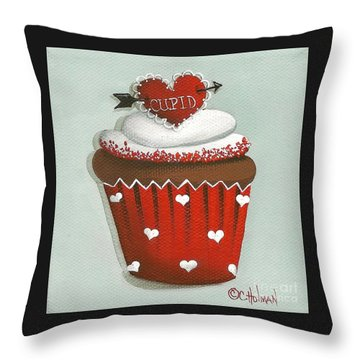 Cupid's Arrow Valentine Cupcake Throw Pillow by Catherine Holman