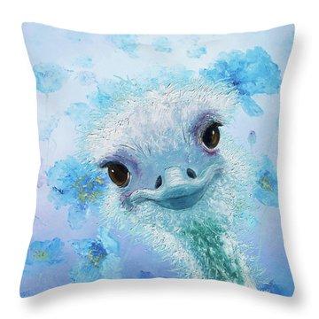 Curious Ostrich Throw Pillow by Jan Matson