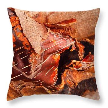 Curled Bark Throw Pillow by Tara Turner