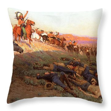 Custer's Last Stand Throw Pillow by Richard Lorenz