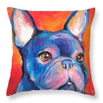 Cute French Bulldog Painting Prints Throw Pillow by Svetlana Novikova