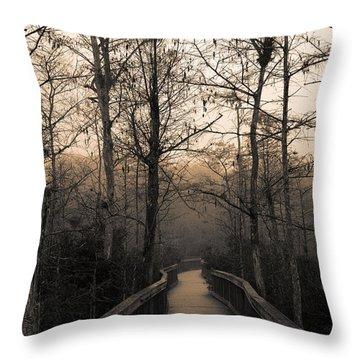 Cypress Boardwalk Throw Pillow by Gary Dean Mercer Clark