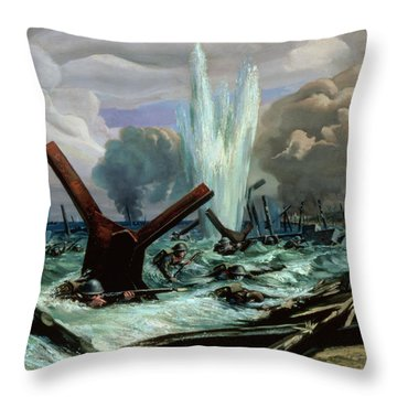 D Day Throw Pillow by Orville Norman Fisher
