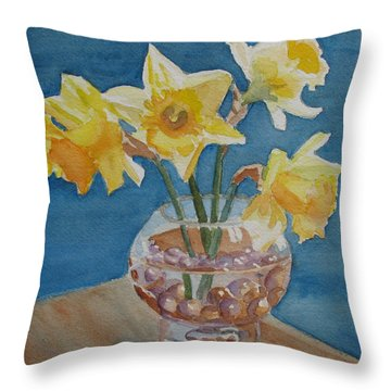 Daffodils And Marbles Throw Pillow by Jenny Armitage
