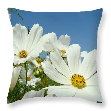 Daisies Flowers Art Prints White Daisy Flower Gardens Throw Pillow by Baslee Troutman