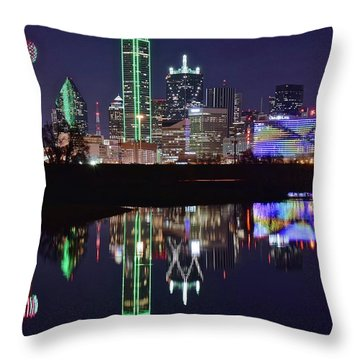 Dallas Reflecting At Night Throw Pillow by Frozen in Time Fine Art Photography