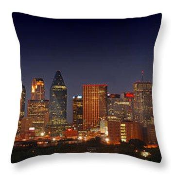 Dallas Skyline At Dusk  Throw Pillow by Jon Holiday