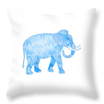 Damask Pattern Elephant Throw Pillow by Antique Images