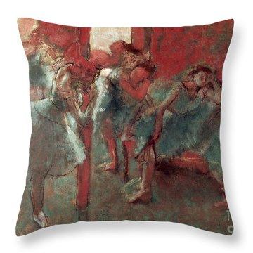 Dancers At Rehearsal Throw Pillow by Edgar Degas