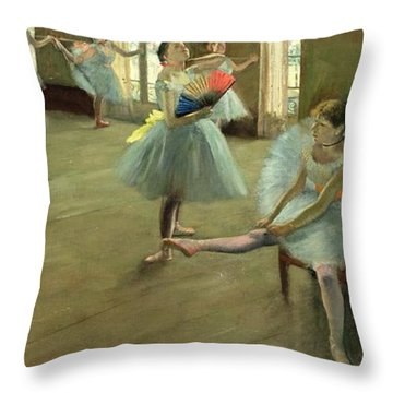 Dancers In The Classroom Throw Pillow by Edgar Degas