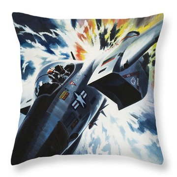 Danger From The Skies Throw Pillow by Wilf Hardy