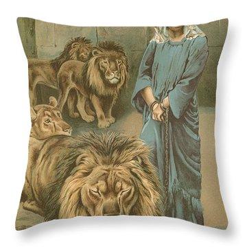 Daniel In The Lions Den Throw Pillow by John Lawson