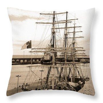 Danish Training Ship Throw Pillow by Gaspar Avila