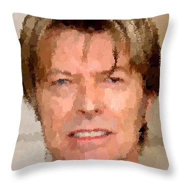 David Bowie Portrait Throw Pillow by Samuel Majcen