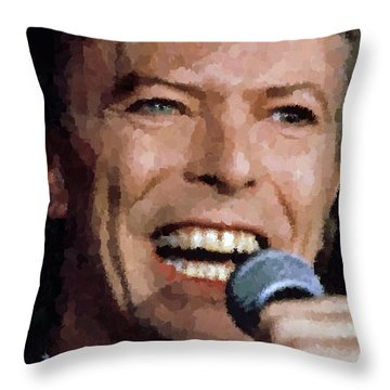 David Bowie Throw Pillow by Samuel Majcen