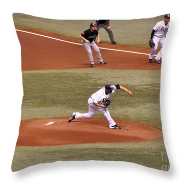 David Price - The Pitch Throw Pillow by John Black