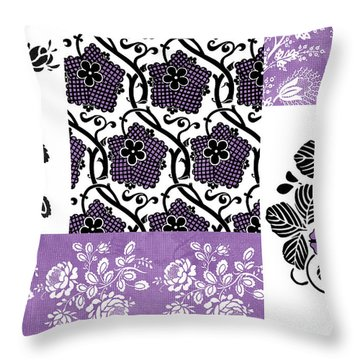 Deco Flower Patchwork 3 Throw Pillow by JQ Licensing