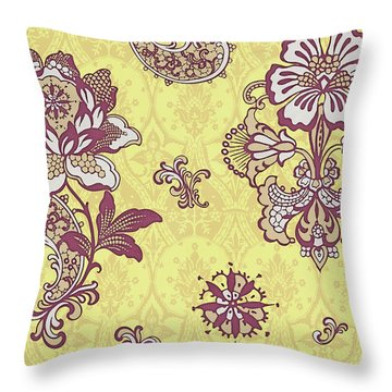 Deco Flower Yellow Throw Pillow by JQ Licensing