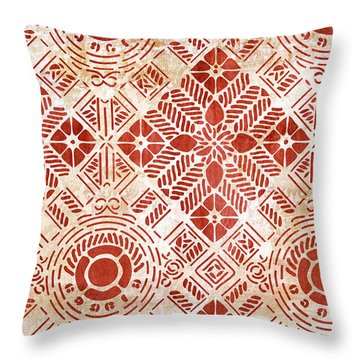 Throw Pillow featuring the painting Decorative Vintage Pattern Sanguine Red by Frank Tschakert